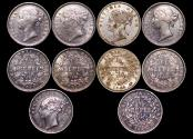 World Coins - British India, East India Company, Victoria (1837-1901), Silver 1/4 Rupee, KM 453, 1840 (2), KM 454, 1840 (3), AU-UNC, a lot of (5) coins