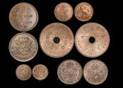 World Coins - Belgium, Belgian Congo, Luxembourg and Netherlands, Copper and Bronze Mixed Minors, EF-UNC a lot of (5) coins