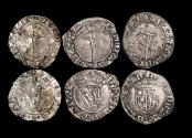 Ancient Coins - France, Lorraine, Antoine (1508-44 CE), Silver Half Groschen (3), a lot of (3) coins