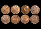 World Coins - British India, Victoria (1837-1901), Copper 1/4 Anna, 1880c, KM# 486, UNC, a few spots, a lot of (4) coins