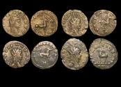 """Ancient Coins - Gallienus (253-68 CE), Billon Antoninianus, """"Animals and Mythical Creatures"""" series, Stag (1), Pegasus (1),  Hippocamp (1), Gazelle (1), VF or better, a lot of (4) coins"""