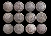 World Coins - Great Britain (1760-1820), Copper Cartwheel Pennies, 1797, F-VF, a lot of (6) coins