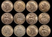 World Coins - Great Britain, George V (1910-1936), Bronze Farthings (6), a lot of (6) coins
