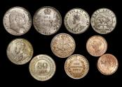 World Coins - British Empire, a mixed lot of issues for East Africa, India, Ceylon and the Straits Settlements, Silver and Copper, VF-AU a lot of (5) coins