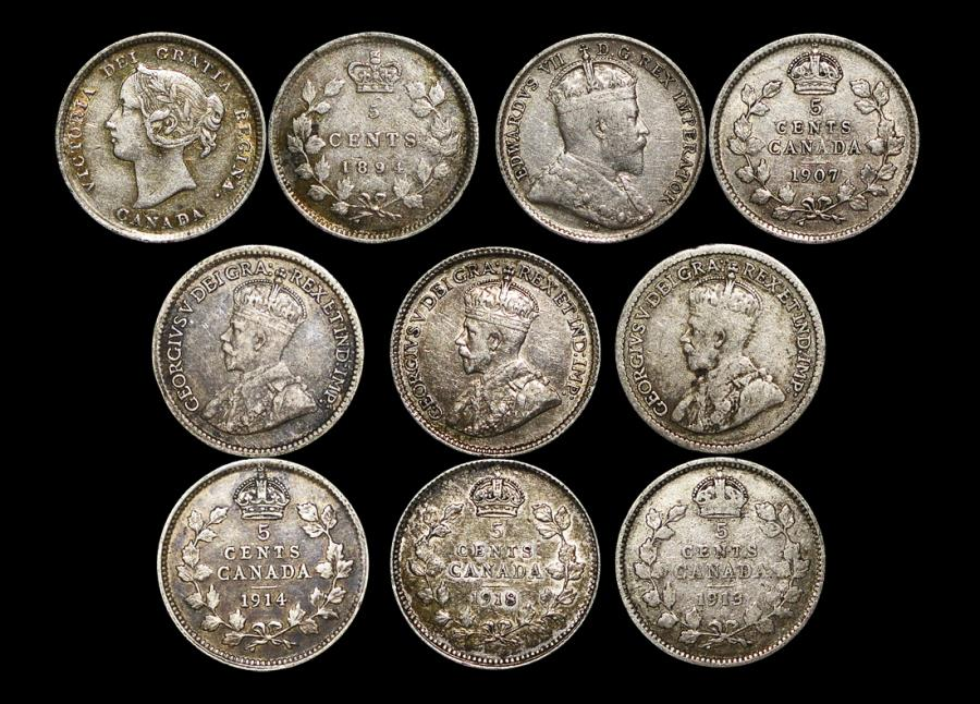 World Coins - Canada, Silver 5 Cents, 1894 (1), 1907 (1), 1913 (1), 1914 (1),1918 (1), VF-EF, a lot of (5) coins