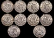 World Coins - Great Britain, George VI (1936-1952), Silver Threepences 1938(1), 1939(1), 1940(1), 1941(2) UNC, a lot of (5) coins