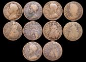 World Coins - England, Charles II (1660-1685), Copper Farthings, 1673 (1), 1674 (1), uncertain date (3) a lot of (5) coins