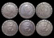 "World Coins - Great Britain, George III (1760-1820),  ""Cartwheel"" Two Penny, 1797, a lot of (3) coinS"