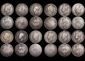 World Coins - Great Britain, George IV (1820-1830), Silver Shillings (11), William IV (1830-1837), Silver Shilling (1), mixed dates, mostly F, a lot of (12) coins