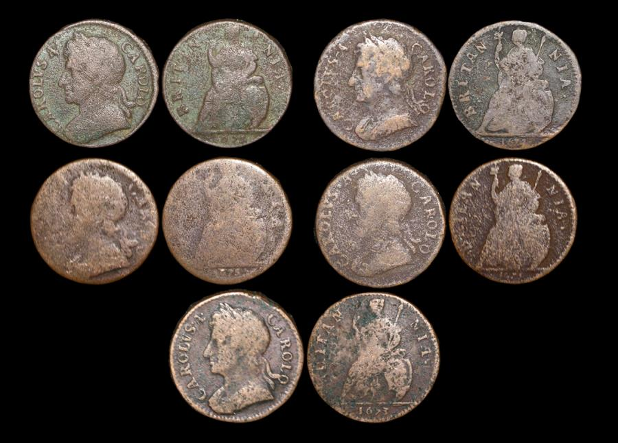 World Coins - England, Charles II (1660-1685), Copper Farthings,  a lot of (5) coins