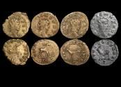 "Ancient Coins - Gallienus (253-68 CE), Billon Antoninianus, ""Animals and Mythical Creatures"" series, Hippocamp (1), Gazella (1), Antelope (1), Goat (1),  VF or better, a lot of (4) coins"