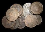 World Coins - British India, Princely States, Indore, Victoria (1837-1901), Bull type, Copper 1/2 Anna (9), 1/4 Anna (6), VF, a lot of (15) coins