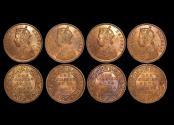 World Coins - British India, Victoria (1837-1901), Copper 1/4 Anna, 1880c, KM# 486, UNC, a lot of (4) coins