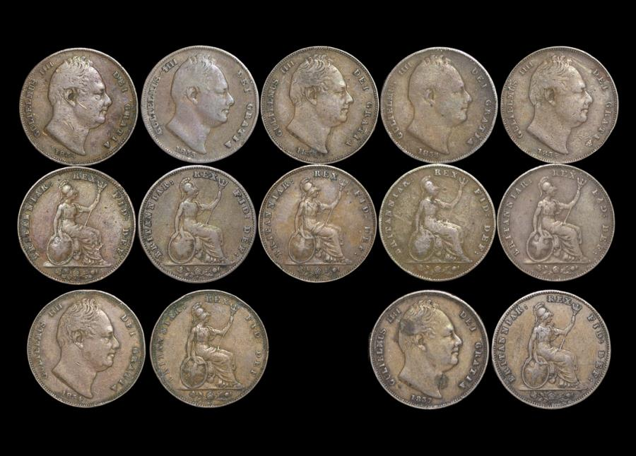 World Coins - Great Britain, William IV (1830-37), Copper Farthings, mixed dates, on average F, a lot of (7) coins