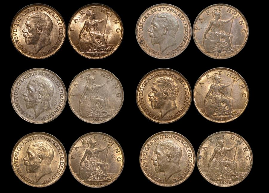 World Coins - Great Britain, George V (1910-1936), Bronze Farthings  (6), UNC with some lustre, a few spots, a lot of (6) coins