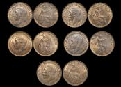 World Coins - Great Britain, George V (1910-1936), Bronze Farthings  (5), UNC with some lustre, a few spots, a lot of (5) coins