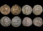 """Ancient Coins - Gallienus (253-68 CE), Billon Antoninianus, """"Animals and Mythical Creatures"""" series, Gazelle (1), Doe (1), Hippocamp (1), Panther (1), VF or better, a lot of (4) coins"""