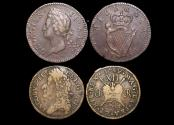 World Coins - Ireland, George II, Halfpenny, 1751 and Gunmoney, Shilling, 1689, lot of (2) coins