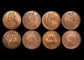 World Coins - British India, Victoria (1837-1901), Copper 1/4 Anna, 1880c (3), 1889c (1), KM# 486, UNC, a lot of (4) coins