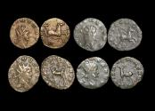 "Ancient Coins - Gallienus (253-68 CE), Billon Antoninianus, ""Animals and Mythical Creatures"" series, Hippocamp (1), Pegasus (1),  Centaur (1), Gazelle (1), VF or better, a lot of (4) coins"