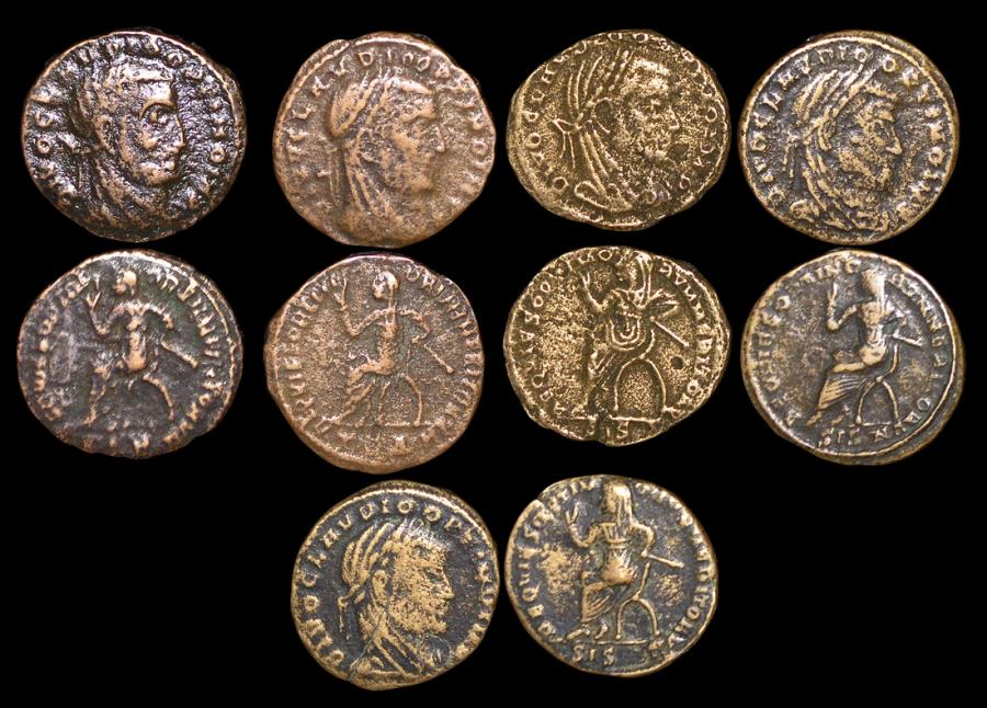 Ancient Coins - Roman Empire, Commemorative Issue struck (c.317 CE) under Constantine the Great in honor of Claudius II (died 270 CE), Billon Half Follis, a lot of (5) coins