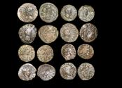 Ancient Coins - Roman Empire, Crisis of the Third Century, Gallic Empire, Barbarous Radiate Imitations, mostly in imitation of Tetricus I and II, struck c.250-c.280 CE, a lot of (8) coins