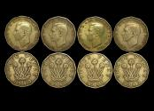 World Coins - Great Britain, George VI (1936-1952), Nickel-Brass Threepence, 1946 RARE DATE (2) KM# 873, 1949 RARE DATE (2), VF, a lot of (4) coins