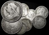 """World Coins - Great Britain, Victoria (1837-1901), """"Veiled Head"""" Silver Halfcrowns, mixed dates, a lot of (10) coins"""