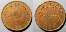 World Coins - Leper Colony coin, 10 centavos, 1901 - Colombia, Bogota