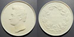 World Coins - rare German Meissen 1831 white porcelain medal - Johann Duke of Saxony