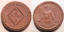 World Coins - German porcelain / clay coin, 1921, Bad Weixdorf-Lausa, 2 Mark