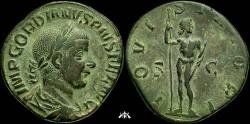 Ancient Coins - Gordian III, 238-244 AD, AE sestertius, IOVI STATORI, great patina, XF+++