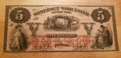 Us Coins - uncirculated $5 note of Somerset & Worcester Savings Bank, Maryland