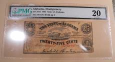 Us Coins - Montgomery, Alabama, 1863 Civil War era State of Alabama 25 cents note, PMG 20 Very Fine