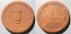 World Coins - German brown porcelain medal - advertising medal for the factory