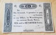 Us Coins - Obsolete Currency - 6 1/4 cents note from Worthington, OH