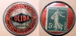 World Coins - French encased potsage - Olidas Jambons-Conserves -- Paris, Strasbourg, etc.