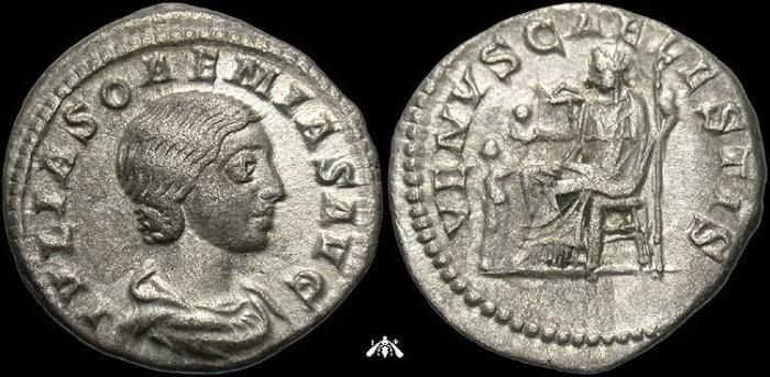 Ancient Coins - Julia Soemias, 222 AD, AR denarius - Venus seated reverse