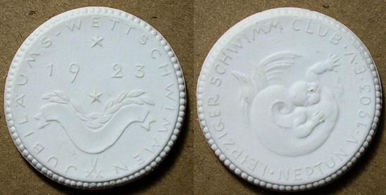 World Coins - German white porcelain medal, 1923 - swim club