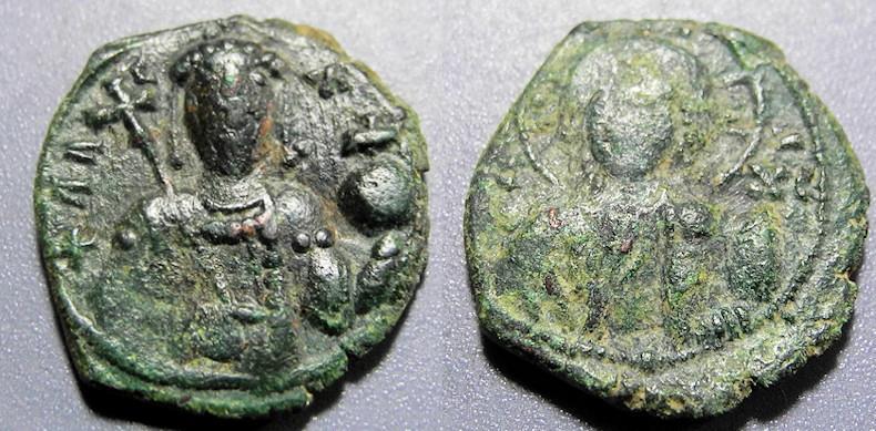 Ancient Coins - Byzantine bronze, Alexius I Commenus, 1018-1118 AD, AE tetarteron - lightweight