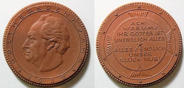 World Coins - German large brown porcelain medal - Goethe - 1932
