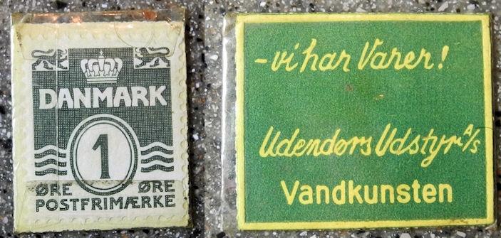 World Coins - Denmark, encased postage - 1 Ore - advertising Vandkunsten