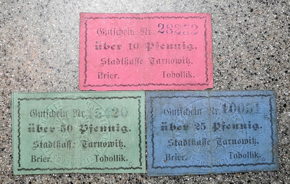 3 German cloth emergency notes - WWI - Tarnowitz, (Germany / Poland /  Silesia)