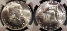 Us Coins - USA - 1950-D brilliant uncirculated Franklin Half Dollar, NGC MS-63 FBL