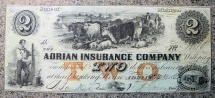 Us Coins - USA Obsolete currency, 1853 Adrian Insurance Co. --  $2