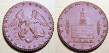 World Coins - German brown porcelain medal - Kamenz - commemorates WWI fallen