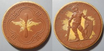 World Coins - Large gold gilded German brown porcelain medal - flight / well armed cherub - 1922