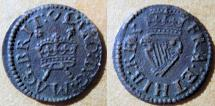 World Coins - Ireland, James I, 1603-1625 AE farthing - crowned harp