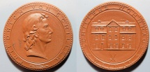 World Coins - large German brown porcelain medal - Friedrich Von Schiller - Weimar