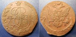 World Coins - Russia, 1778, large bronze 5 kopecks